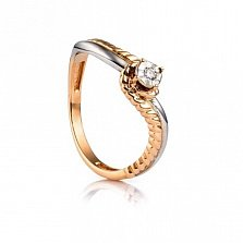 Золотое кольцо с бриллиантом Мальвина