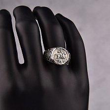 Серебряный перстень-печатка Мужество с узорной шинкой и изображением Георгия Победоносца
