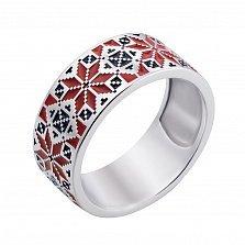 Серебряное кольцо с красной и черной эмалью 000133286