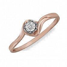 Кольцо из красного золота Драгоценный цветок с асимметричной шинкой и бриллиантом