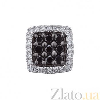Кулон из белого золота Крост с черными и белыми бриллиантами 000079417