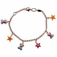 Детский золотой браслет с эмалью Звёздные мишки