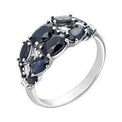 Серебряное кольцо с гидротермальными сапфирами и фианитами 000063398