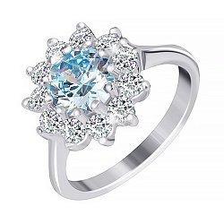Серебряное кольцо с голубым фианитом 000025472