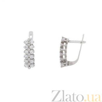 Серьги-дорожки из серебра с цирконием