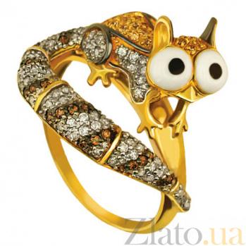 Кольцо из желтого золота с фианитами Скрат VLT--TT1051-1