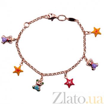 Детский золотой браслет с эмалью Звёздные мишки ONX--б01469