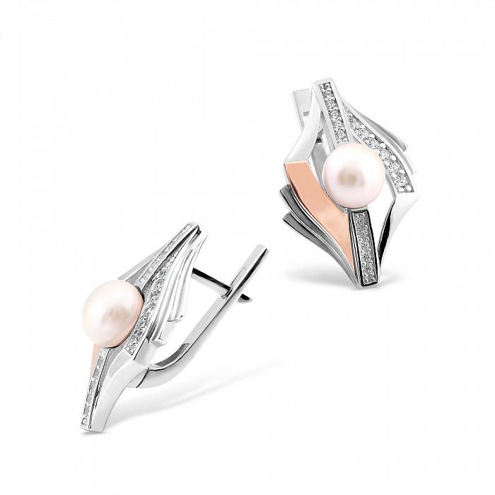 Серебряные серьги Акулина с золотыми накладками, жемчугом и фианитами 000067279