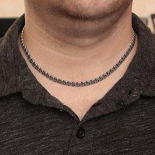 Серебряная чернёная цепь Ларт в плетении плоский бисмарк, 5мм