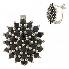 Серебряные серьги Астра с сапфирами