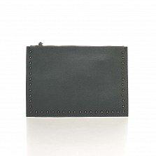 Кожаный клатч Genuine Leather 1405 темно-серого цвета с короткой ручкой на запястье