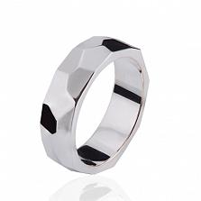 Мужское обручальное кольцо Океан в белом золоте