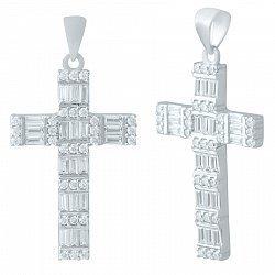 Серебряный крестик с фианитами 000077393