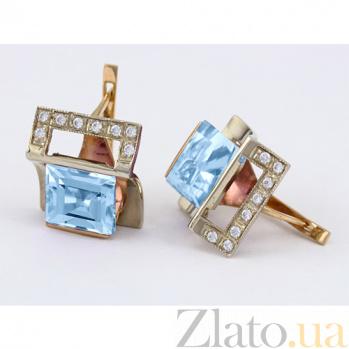 Золотые серьги с голубым топазом и фианитами Эпатаж 000024381