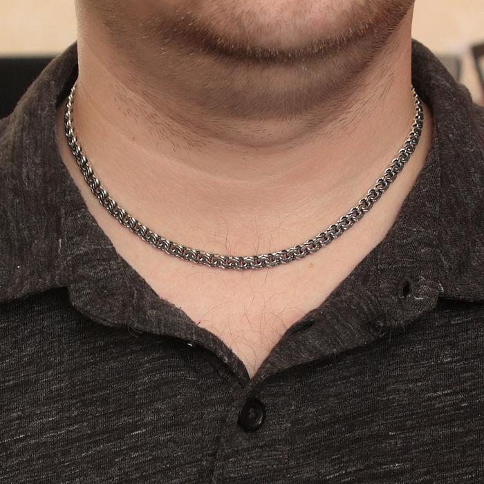 Серебряная чернёная цепь Ларт в плетении плоский бисмарк, 5мм 000079831