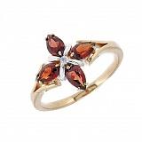 Золотое кольцо в красном цвете с бриллиантом и гранатами Грация