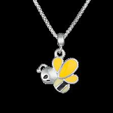 Детское колье Пчелка с желто-черной эмалью