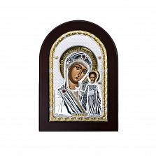 Икона Божьей Матери Казанская с красными фианитами