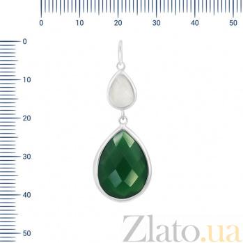Серебряный подвес Элиза с зеленым агатом и белым кварцем 000081744
