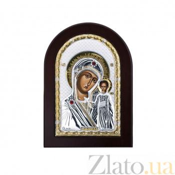 Икона Божьей Матери Казанская с красными фианитами AQA--MA/E1106AX