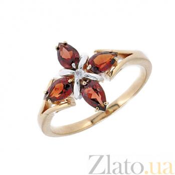 Золотое кольцо в красном цвете с бриллиантом и гранатами Грация ZMX--RGn-5504_K