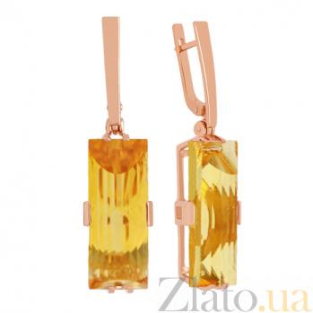 Золотые серьги-подвески с цитринами Агапия VLN--113-1202-8