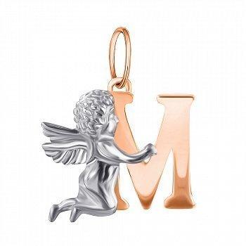 Серебряный кулон Ангелочек с буквой М и позолотой 000079431