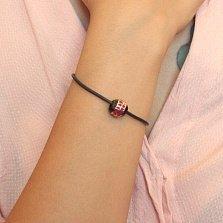 Серебряный шарм Путь сердца с черной керамикой и красной эмалью