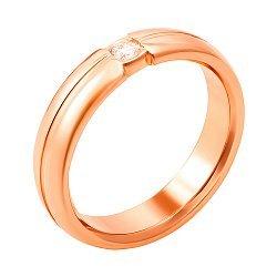 Обручальное кольцо из красного золота с бриллиантом 000006433
