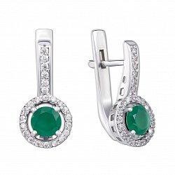 Серебряные серьги с зеленым агатом и фианитами 000136322