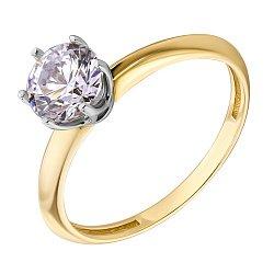 Золотое кольцо с цирконием Swarovski  000049372