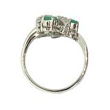 Серебряное кольцо с бриллиантами и изумрудами Хелми