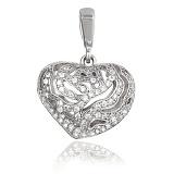 Серебряный подвес с кристаллами циркония Страстное сердце