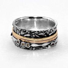 Кольцо из серебра Artefact с золотыми накладками, фианитами цвета шампань и чернением