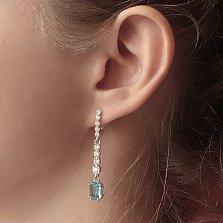 Серебряные серьги-подвески Адалин с кварцем под голубой топаз и фианитами