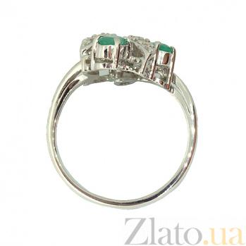 Серебряное кольцо с бриллиантами и изумрудами Хелми 000027313