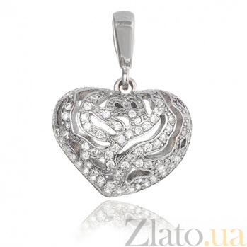 Серебряный подвес с кристаллами циркония Страстное сердце SLX--П2Ф/318