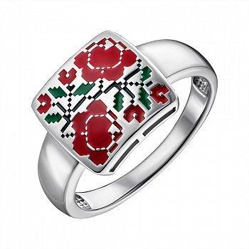Серебряное кольцо с эмалью 000148623