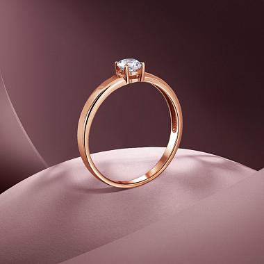 Кольцо из красного золота с цирконием Swarovski 000141445