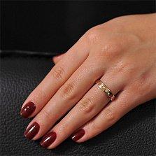 Золотое обручальное кольцо глянцевое Три камня с фианитами