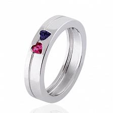 Обручальное кольцо Hearts с сапфиром и рубином