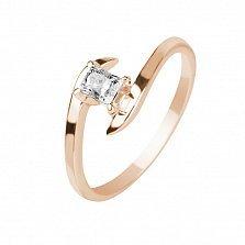Кольцо в красном золоте Принцесса с бриллиантом
