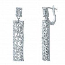 Серебряные серьги-подвески Бригетта с фианитами