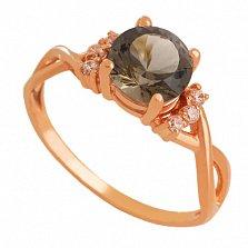 Золотое кольцо с раухтопазом и цирконием Рикарда