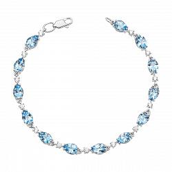 Браслет из белого золота с голубыми топазами и фианитами с родированием 000136005
