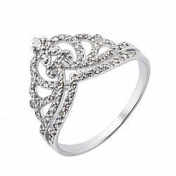 Серебряное кольцо-корона с фианитами 000132920
