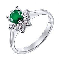 Серебряное кольцо с изумрудом и фианитами 000136988