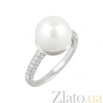 Золотое кольцо Перл с жемчугом и бриллиантами 000026840