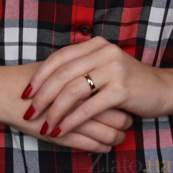 Обручальное кольцо из красного золота Навеки вместе, 4мм 1001-4/01/0