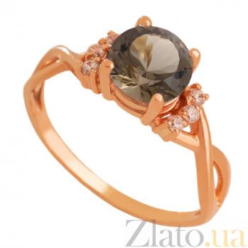 Золотое кольцо с раухтопазом и цирконием Рикарда VLN--112-1725-2